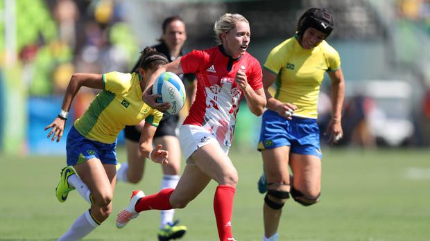 Great Britain's Natasha Hunt, who scored two tries, in action against Brazil at Deodoro Stadium