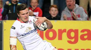 Going over: Jacob Stockdale touches down in Ulster's win over Northampton at the Kingspan last night