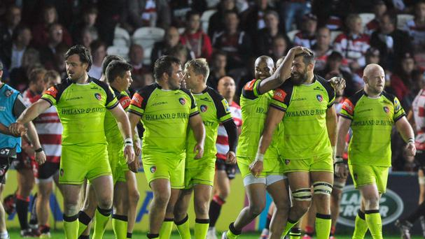 Leicester celebrate the remarkable win at Gloucester
