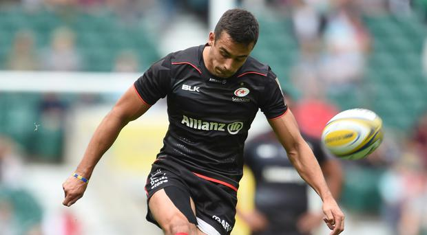 Saracens' Alex Lozowski kicks a penalty as part of his 20-point haul