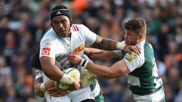 Harlequins forward Mathew Luamanu (left) has been handed a three-week ban after being sent off against Sale Sharks.