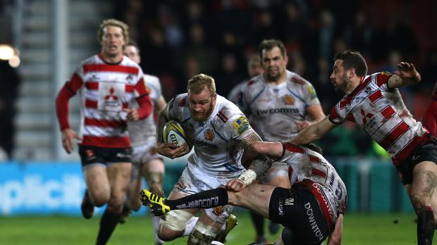 Damian Welch scored a late try to give Exeter a draw with Gloucester