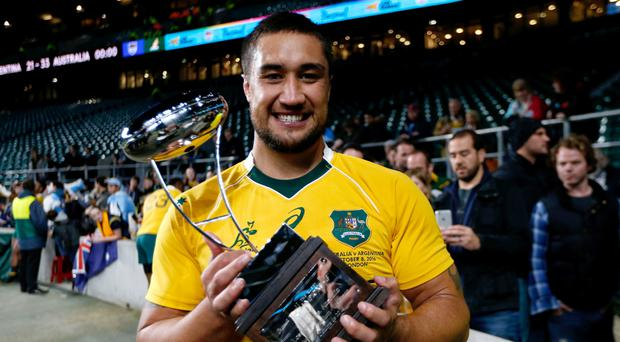 Leroy Houston, pictured, after winning his first cap for Australia in Saturday's 33-21 victory over Argentina at Twickenham