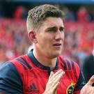 Munster's Ian Keatley applauds the crowd after the emotional victory over Glasgow