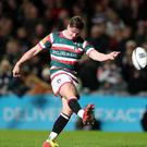 Freddie Burns kicks a penalty during the European Champions Cup win over Racing 92