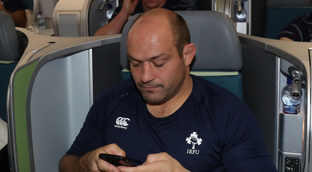 On message: Rory Best relaxes on yesterday's flight to the USA