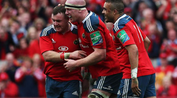 Dave Kilcoyne (left) scored two tries for Munster