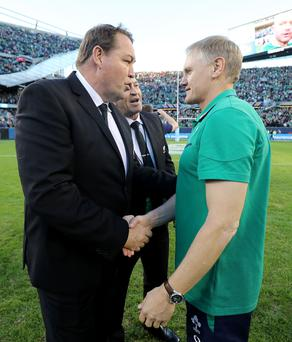 Mutual respect: Steve Hansen shakes hands with Joe Schmidt