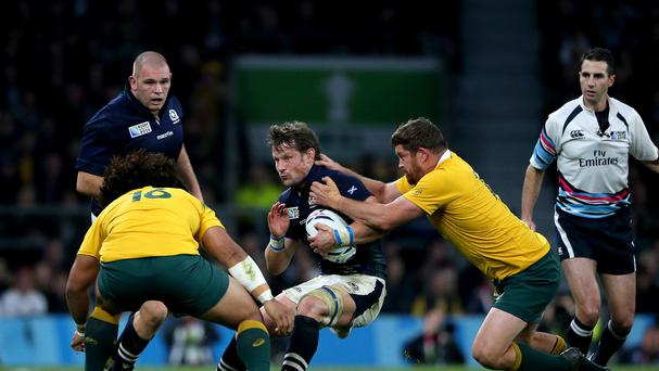 Scotland's Peter Horne, centre, is relishing a rematch with Australia