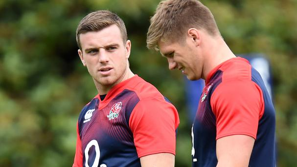 England's George Ford (left) and Owen Farrell during a training session at the squad's training base