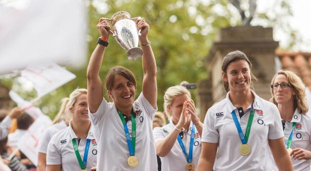 England celebrate their Women's World Cup success in 2014