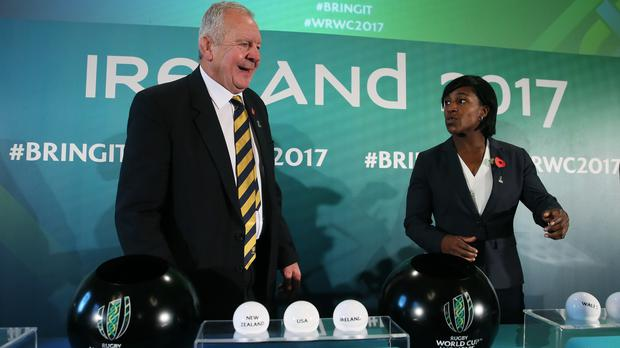 World Rugby chairman Bill Beaumont with former England international Maggie Alphonsi during the 2017 Women's Rugby World Cup pool draw at Belfast City Hall.