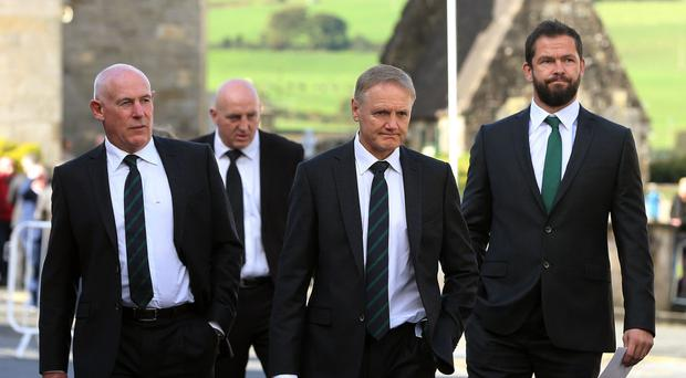 Andy Farrell, right, has thanked Joe Schmidt, second from right, for his blessings over Farrell being part of next year's Lions tour