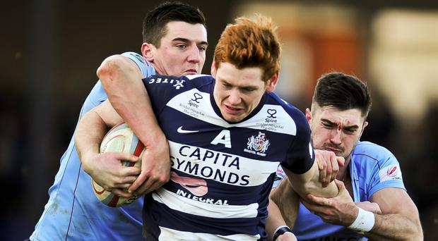 Bristol's Jack Tovey (centre) scored as his side won