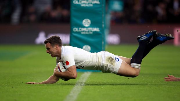 England's George Ford scores his side's third try