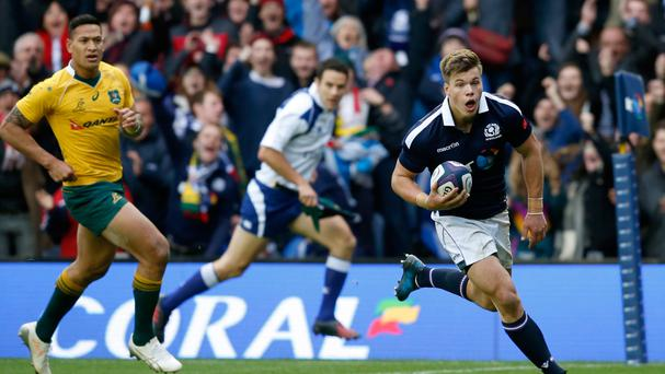 Huw Jones, right, scored a pair of tries in Scotland's last-gasp defeat