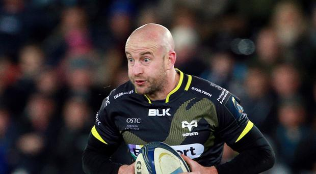 Brendon Leonard crossed for a try in a big Ospreys win