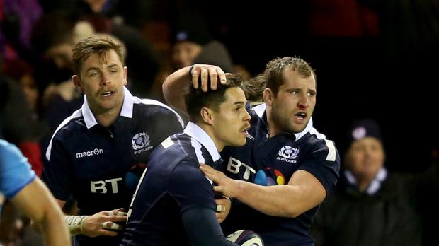 Scotland's Sean Maitland (centre) celebrates his try during the 19-16 victory over Argentina at Murrayfield.