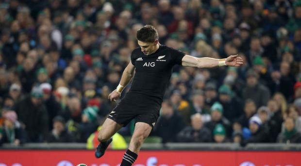 New Zealand's Beauden Barrett scores a conversion during the Autumn International match at the Aviva Stadium, Dublin.