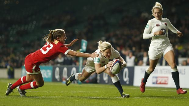 Claire Allan scores a try for England Women