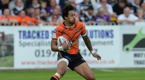 Denny Solomona, pictured, has 'resigned' from rugby league, according to Sale director of rugby Steve Diamond
