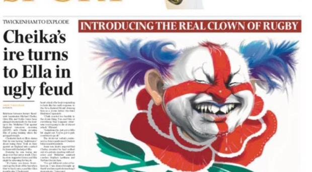 Eddie Jones has been mocked up in the image of a clown by The Australian newspaper