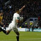 Ben Youngs celebrates England's third try against Australia