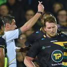 Northampton's Dylan Hartley is shown a red card by referee Jerome Garces against Leinster