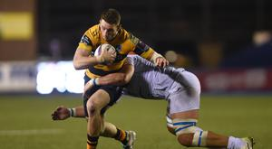 Cardiff Blues' Alex Cuthbert, left, scored against Bath