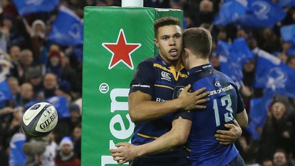 Leinster's Adam Byrne, left, scored twice against Northampton
