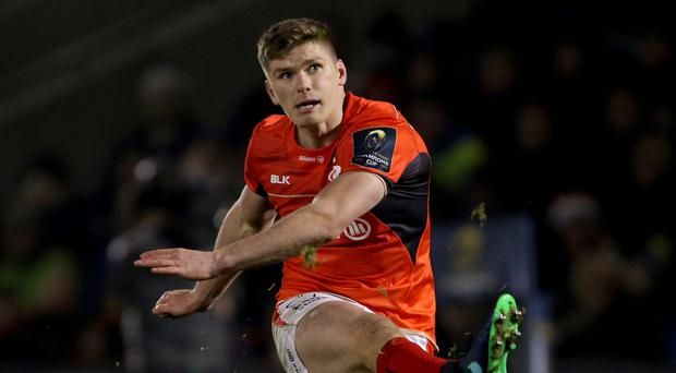 Owen Farrell scored a late try and kicked 14 points for Saracens at Sale