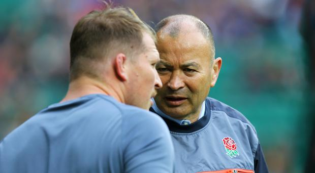 Eddie Jones, right, had some strong words for his captain Dylan Hartley, left