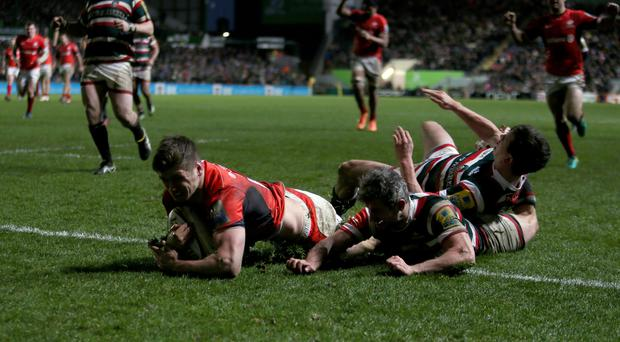 Owen Farrell goes in for the only try of the game