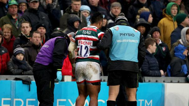 Leicester Tigers' Manu Tuilagi hobbled off just eight minutes into the game against Saracens after falling awkwardly in a double tackle.