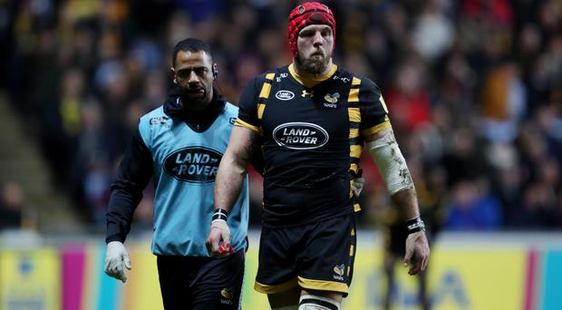 James Haskell was helped from the field during the game against Leicester