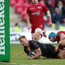 Chris Ashton's late try secured Saracens a place in the last eight of the European Champions Cup