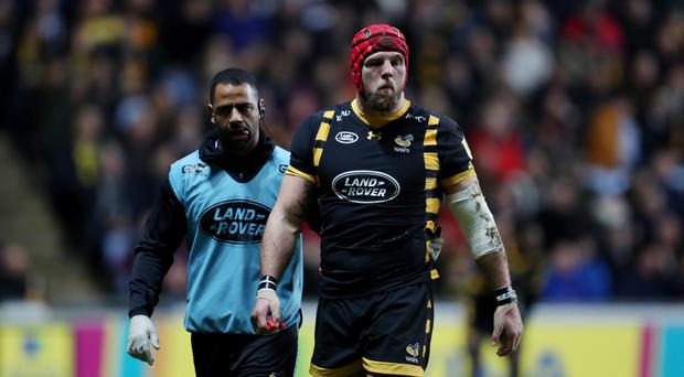 Wasps' James Haskell was forced off against Leicester with a head injury.