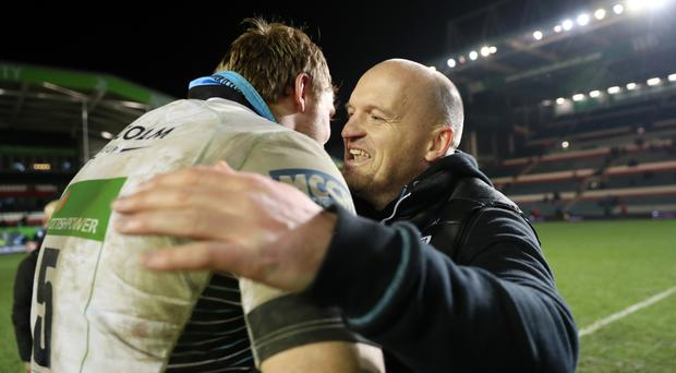 Gregor Townsend, right,and Jonny Gray celebrated their victory over Leicester in the Champions Cup