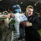 Stuart Hogg (right) celebrates after Glasgow's momentous win at Leicester on Saturday