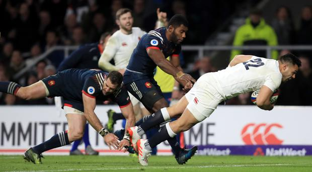 England's Ben Te'o scores the winning try