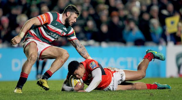Nathan Earle, right, was on the scoresheet for Saracens against Leicester