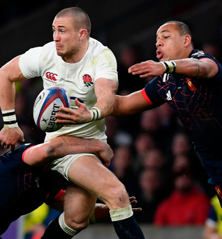 Scrappy: England's Mike Brown