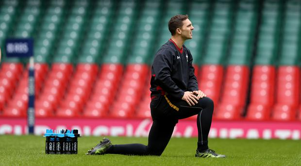 George North at the Wales captain's run in Cardiff on Friday