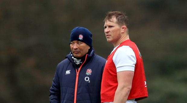England captain Dylan Hartley, right, will remain with head coach Eddie Jones and the squad this week