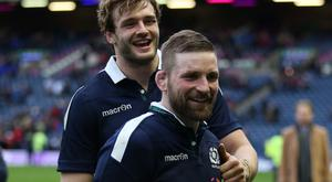 Stand-in skipper John Barclay (front) led Scotland by example