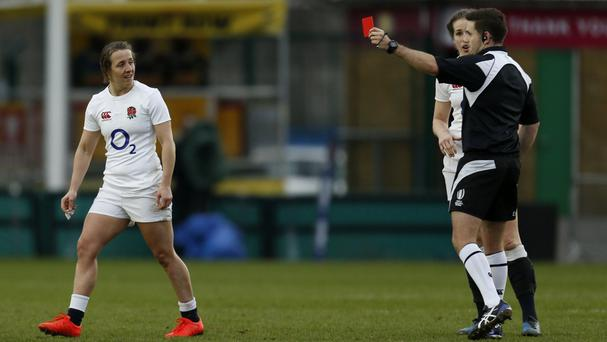 England's Katy McLean is sent off during the clash with Italy