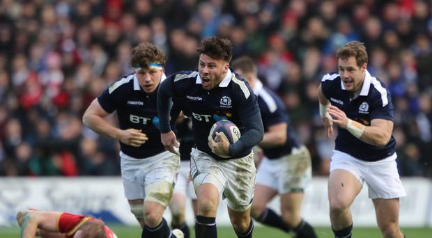 Ali Price, centre, is hopeful Scotland can claim their first away win over England since 1983