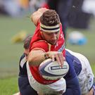 Scrum-half Rhys Webb is narrowly denied a try during Wales' Six Nations defeat against Scotland