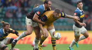 Chris Brooker, centre, has rejoined former club Bath on loan from Bristol
