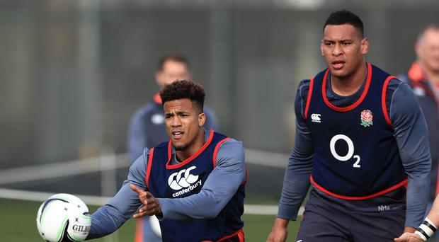 Anthony Watson, left, is poised to make his comeback from a strained hamstring in the Calcutta Cup clash at Twickenham